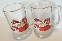 "Coca Cola Santa Claus Reindeer Sleigh Glass Coke Set of 2 Mug Stein 5 1/2"""