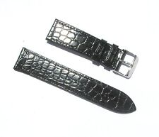 22mm Genuine Leather Black Croco Grain Thin Watch Band with 2 Spring Bars