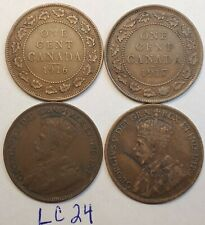 1916,1917,1918,1919  Canada Large Cent Penny King George V Lot of 4 Coins LC24e