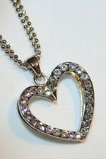 Sparkly Layered Rhinestone Openwork Heart Silvertone Necklace  ++++