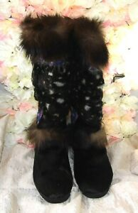 TECNICA Italy sz 9-9.5 GENUINE fur BLACK & BROWN after Ski Warm snuggly BOOTS