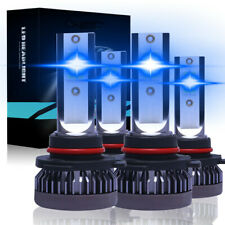 4PCS 9005 9006 LED Headlight Kit Combo 220W 44000LM High Low Beam 8000K Ice Blue