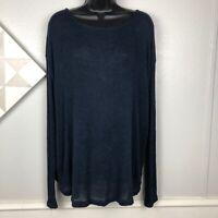 Brandy Melville Navy Blue Sheer Oversized Knit Top Dolman Long Sleeve OS M L