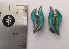 Aksel Holmsen Norway Double Green Leaf Enamel Sterling Silver Clip On Earrings