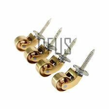 "4x Solid Polished Brass Castors 1"" (25mm) screw plate furniture castor"