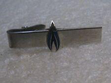 Vintage Silver Tone Blue Flame Tie Clasp - Robbins Co, Attleboro