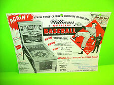 Williams OFFICIAL BASEBALL 1960 Original Baseball Pinball Machine Sales Flyer