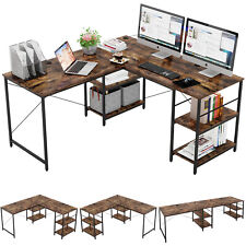 Large Computer Desk Gaming Table L Shaped Home Office Pc Workstation With Shelves