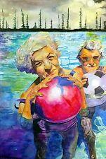 "Original painting ""Twilight""by Nardu Debrah,Portraits,Realism,Size14'X20.5"""
