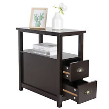 Chairside End Table with 2 Drawer and Shelf Narrow Nightstand for Living Room
