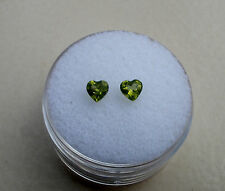 Peridot Heart Natural Gem Loose Faceted Pair 4mm each