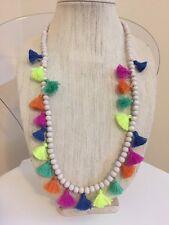NWOT Multi Color Rainbow Tassel Long Bead Layering Necklace