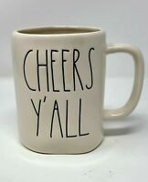 "Rae Dunn ""Cheers Y'all"" Coffee Tea Mug Ivory Artisan Collection Large Letter"