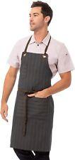 Chef Works Unisex Brooklyn Bib Apron, Blue/Chocolate w/Pinstripes, One Size New
