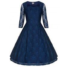 NEW LINDY BOP 'LISETTE' DEEP BLUE LACE 50's STYLE PARTY DRESS Size 10