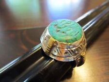 Unique Navajo-Native VTG Sterling Silver-Gold Huge Turquoise Ring SZ 8=7g