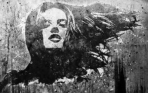 Framed Canvas print graffiti Urban girl stencil wall Street Art  pop painting