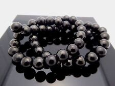 Natural Russian Black Shungite 8mm Round Gemstone Bead Strand 16 Inch 50 Beads