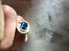 SAPPHIRE & GOLD RING w/24 DIAMOND BAGGUETTES