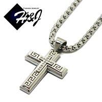 "Details about  /18-40/""MEN Stainless Steel 6x2mm Black Cuban Curb Necklace JESUS Cross Pendant*MJ"