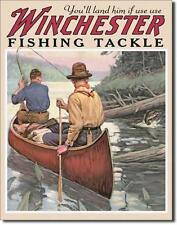 Winchester Outdoor Kanu Angler USA Metall Deko Plakat