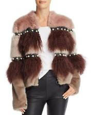 Urbancode Embellished Color-Blocked Faux Fur Coat Pearls & Studs Size 10