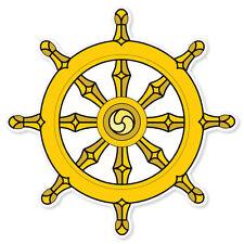 """Dharma Wheel BUDDHISM car bumper sticker decal 4"""" x 4"""""""