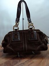 Coach #F10061 Chocolate Suede Satchel W/ Gold Hardware, MUST SEE, VERY CLEAN