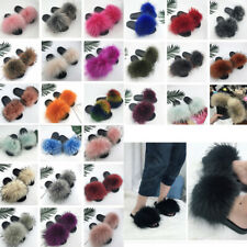 Women Ladies Real Fur Flat Shoes Fluffy Flip Flop Slippers Sliders Sandals Size