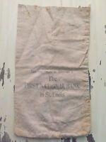 FIRST NATIONAL BANK ST. LOUIS - Vintage Canvas Cash Money Vault Coin Bag - RARE!