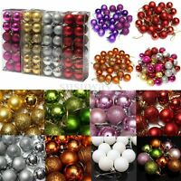 New 24pcs Baubles Christmas Tree Plain Glitter DIY Xmas Party Hanging Craft Ball