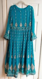 Indian Turquiose and Silver Churidaar SUIT SIZE 12/14