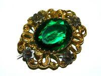 Antique Victorian Edwardian Emerald Glass Paste Gilt Filigree Jewelry brooch