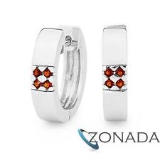 New Classic Silver With Garnet Huggies S/S Gt 925 Sterling Silver Earrings