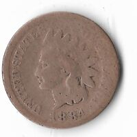 Rare Very Old Antique US 1884 Indian Head Penny USA Collection Coin Cent LOT:W15