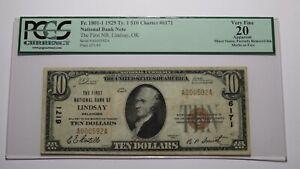 $10 1929 Lindsay Oklahoma OK National Currency Bank Note Bill Ch #6171 VF20 PCGS