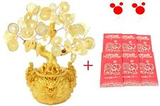 "Chinese New Year Gift: 7"" Gold Money Coins Tree in Dragon Pot + 6 Red Envelopes"