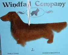 Red Long Coat Dachshund Dog Plush Christmas Canine Ornament #2 by WC