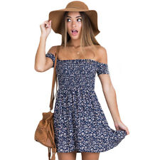 Womens Off Shoulder Summer Beach Mini Dresses Ladies Party Casual Short Dress