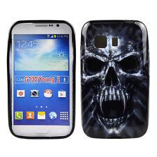 Case f Samsung Galaxy Young 2 Schutzhülle Tasche Cover Handy TPU Totenkopf