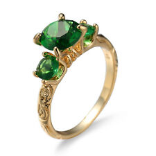 Classical Round 3 stone Emerald Topaz Gems Yellow Gold Plated Woman Ring Sz 6-10
