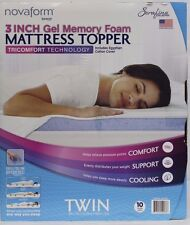 "*NIOB* NovaForm 3"" Gel Memory Foam Mattress Topper Twin w/Cover"