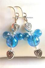 Silver Plated Blue Mickey Mouse Ears Earrings Disney Heart Pierced USA Seller