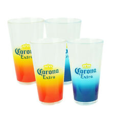 Ombre Corona Extra Acrylic Pint Glasses Set of 4 16oz Cerveza Beer Cups Drinks