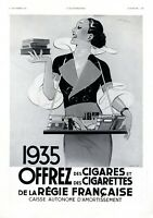 Zigaretten Frankreich XL Reklame 1934 Bauchladen Verpackung Werbung 30er Mode