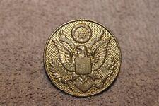 Original Post WW1 & Pre WW2 U.S. Army EM Visor Cap Badge w/Attachment Nut
