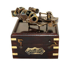 """Antique nautical brass astrolabe marine maritime 4"""" sextant with wooden box gift"""