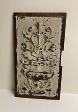 ANTIQUE VICTORIAN CARVED WOOD CARVING PANEL SALVAGE PAINTED WHITE