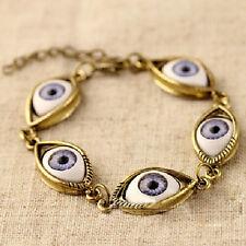 Fashion Lucky Gold/Silver Evil Eye Chain Bracelet Cuff Bangle Women Jewelry