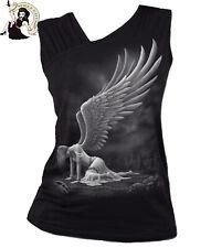SPIRAL DIRECT ANGEL gathered shoulder slant alternative BLACK VEST TOP